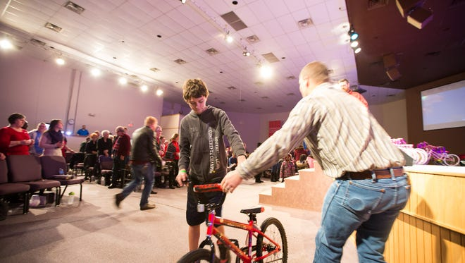 Cornerstone Church gave 100 children in need from Portland and McGregor Elementary Schools bicycles Sunday, Dec. 20, 2015.