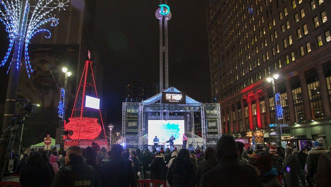 The top of the Motor City New Year's Eve Drop stage features a large illuminated D that lowers during the tradional New Year's  countdown, seen here on Friday, Dec. 31, 2015.