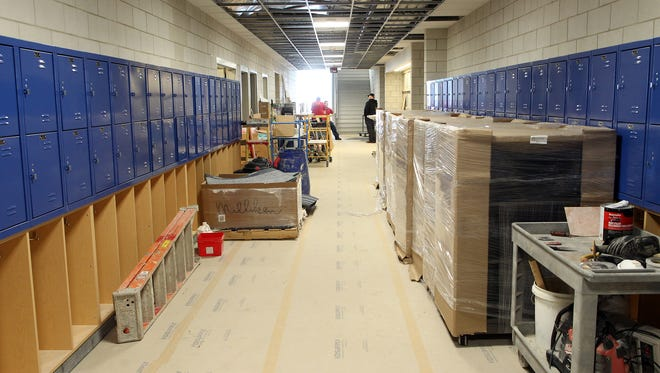 Construction continues inside Clear Creek Amana Middle School on Monday, Dec. 28, 2015.