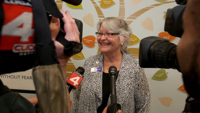 Beth Morrison, the president and CEO of HAVEN talks with the media after the grand opening and ribbon cutting ceremony at the center in Pontiac, Michigan on Friday, January 8, 2016. HAVEN is an Oakland County based program and living area that works with abused women and those with families with programs, advice and a place to stay at the new $8 million center in Pontiac. The center which opened for use in mid-December of 2015 had its formal dedication and ribbon cutting ceremony on Friday. Eric Seals/Detroit Free Press