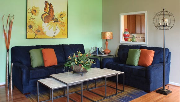 A long, durable couch is ready for the nieces' and