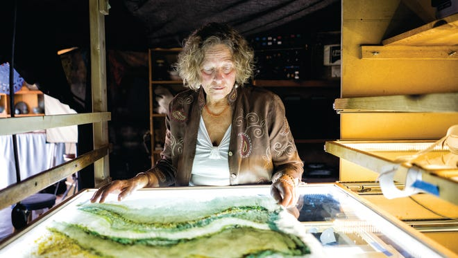 Kate Brown at her Oxberry animation stand in the Mimbres Valley.