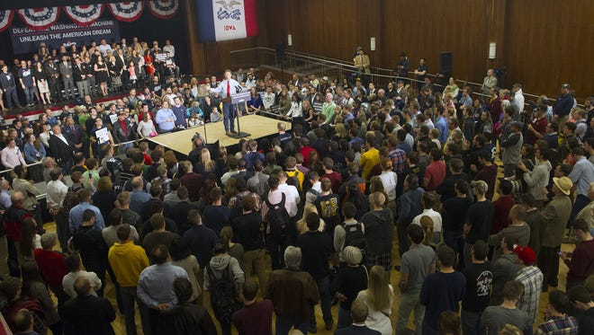 Republican presidential candidate Rand Paul speaks at the Iowa Memorial Union on Friday. Presidential candidate Rand Paul speaks April 10, 2015, at the Iowa Memorial Union. Paul, who has visited Johnson County multiple times this past year, will be at the IMU again on Jan. 31.