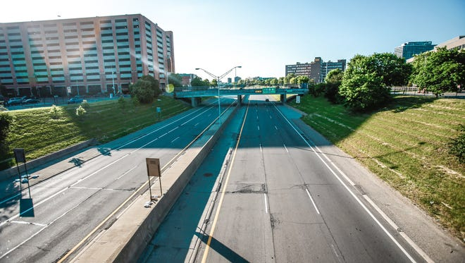 The Michigan Department of Transportation is exploring whether to rebuild or find new use for the mile long I-375 freeway that runs along Detroit's East side, seen here on Thursday, June 5, 2014.