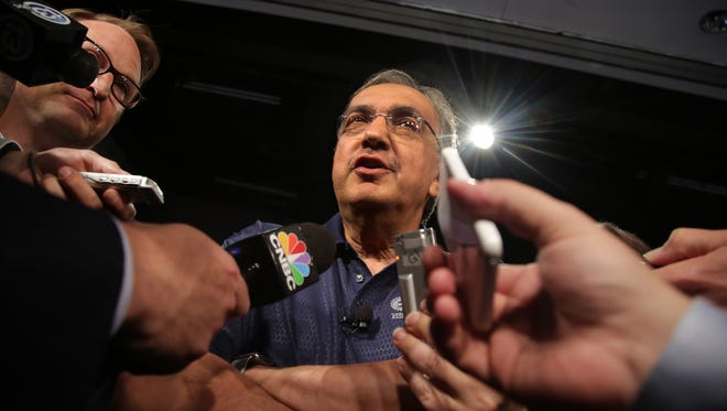 Fiat Chrysler CEO Sergio Marchionne speaks to the media, during an event to mark the ceremonial beginning of its contract talks at the UAW-Chrysler National Training Center in Detroit on Tuesday, July 14, 2015.