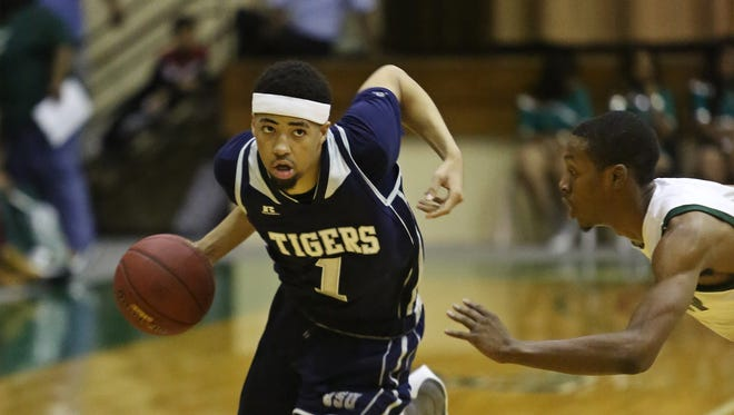JSU guard Chace Franklin (1), pictured against Mississippi Valley State, led the Tigers with 14 points in a 13-point win against UAPB.