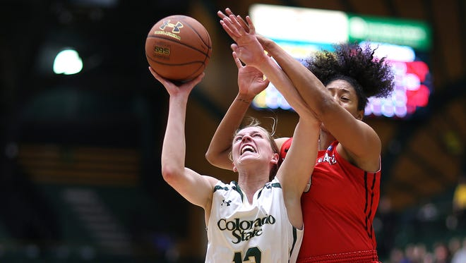 CSU's Ellen Nystrom drives the lane during Colorado State's 70-54 win over the San Diego State Aztecs on Wednesday at Moby Arena in Fort Collins, Colo. The win brings the Rams to a perfect record at home and in the Mountain West conference and 19-1 overall.