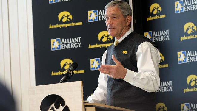Iowa head coach Kirk Ferentz speaks to media on National Signing Day at the Iowa Football Performance Center on Wednesday, Feb. 3, 2016.