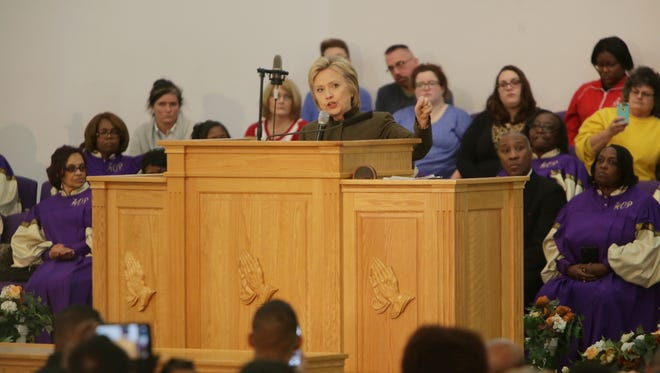 Democratic presidential candidate Hillary Clinton speaks to Flint residents at the House of Prayer Missionary Baptist Church in Flint on Sunday February 7, 2016.