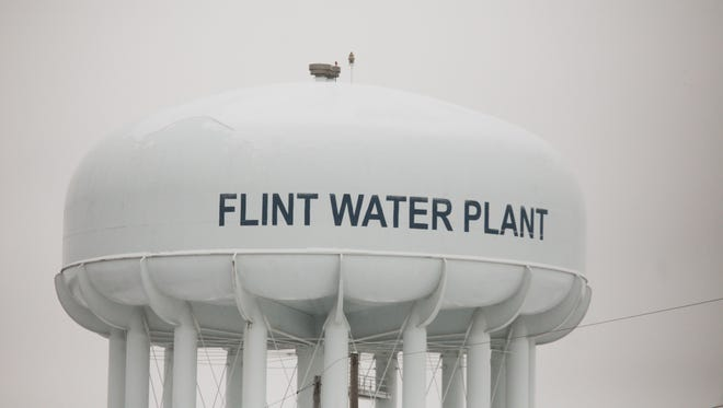 A water tower at the Flint Water Treatment Plant is seen in January, 2015.