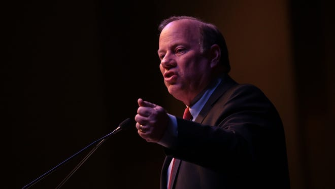 Mayor Mike Duggan delivers a speech during his State of the City Address at Second Ebenezer Church on Tuesday, February 23, 2016, in Detroit, MI.