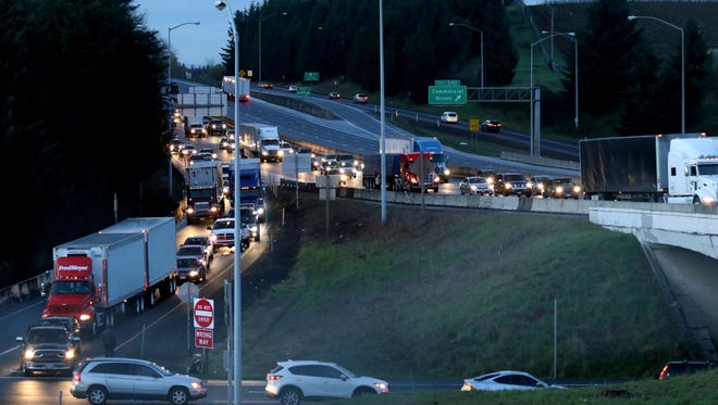 Traffic is backed up on southbound I-5 at Delaney Road south of Salem because of a multiple-vehicle crash on Monday, March 7.