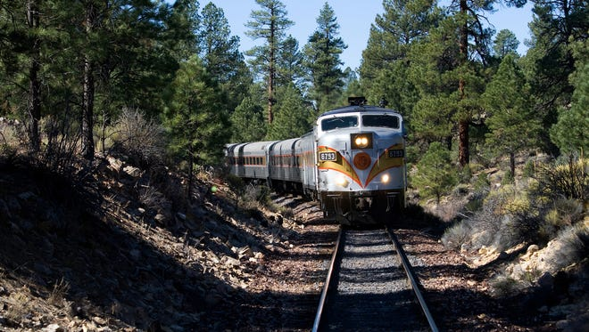The Grand Canyon Railway runs from the Williams Depot to the South Rim of the Grand Canyon on a route opened in 1901.