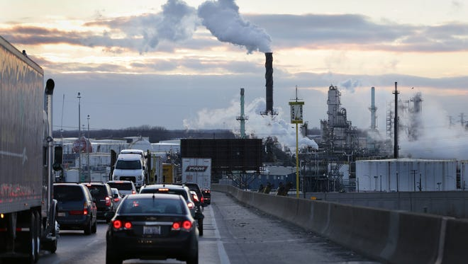 A view of the Marathon refinery from I- 75 South at River Rouge bridge in Detroit, MI on Monday, January 4, 2016.