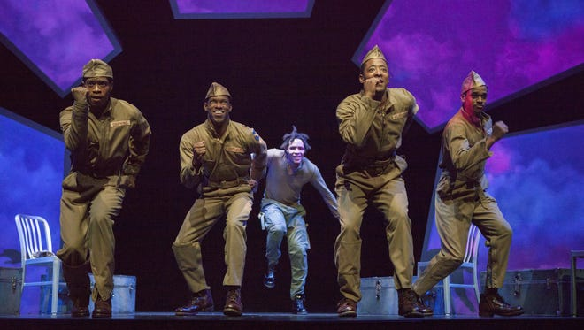 """""""Fly"""" about the Tuskegee Airmen at Crossroads Theatre through April 17 features from left to right  Desmond Newson, Damian Thompson, Omar Edwards, Terrell Wheel, and Brooks Brantly"""