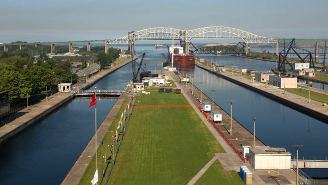 A freighter enters the Soo Locks in Sault Ste. Marie, Michigan.
