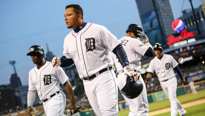 Tigers first baseman Miguel Cabrera hits a home run in the fifth inning of the Tigers' 7-3 win over the Athletics Monday at Comerica Park.