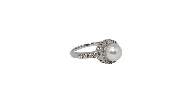 Pearl, 14k gold and white diamond halo ring, $1,265, at Elebash Jewelry Company.