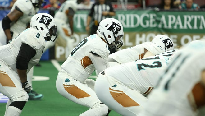 Rattlers quarterback Nick Davila under center during their game against Philadelphia on May 14, 2016.