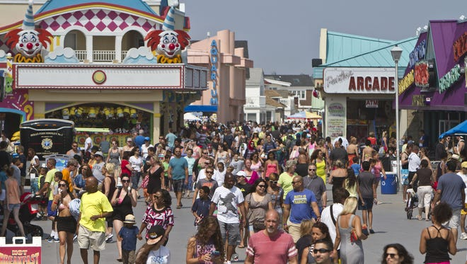The Jenkinson's beach and boardwalk in Point Pleasant Beach is packed on a Saturday in 2015.