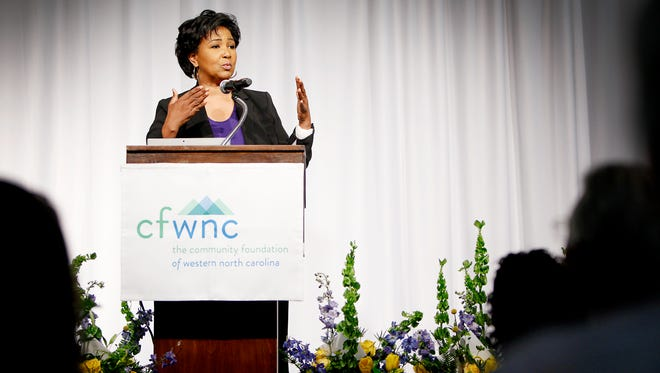 Dr. Mae Jemison, the first African-American woman in space, speaks at Tuesday's 12th Annual Power of the Purse.