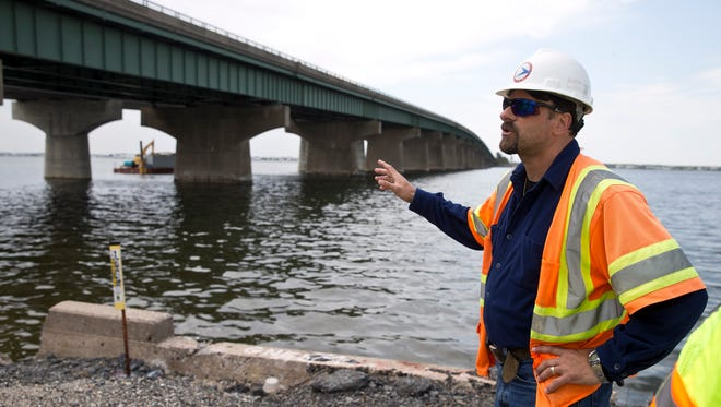 Charles Bassano, NJ Department of Transportation resident engineer, talks about the original structure. The Dorland J. Henderson Memorial Bridge and three other bridges along Route 72 that connect the mainland of Stafford Township to Long Beach Island are undergoing a major rehabilitation. Stafford Township, NJ Tuesday, May 24, 2016@dhoodhood