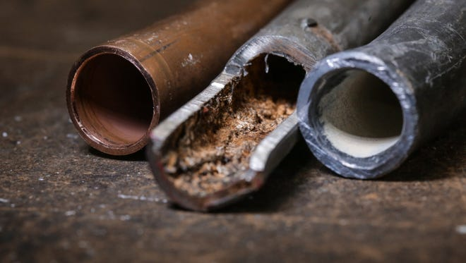 A corroded galvanized pipe from a house in Flint.