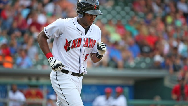 The Indianapolis Indians' Josh Bell hit a three-run home run in Tuesday night's loss against Columbus.