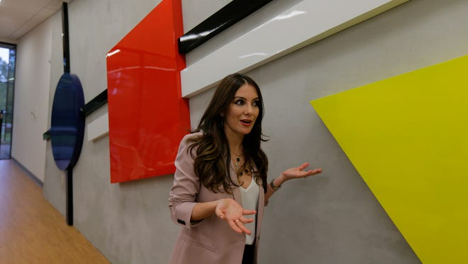 """To turn out-of-date Bell Labs into Bell Works, Somerset Development has turned to Paola Zamudio, a New York designer who is trying to make the building state-of-the-art. She talks about one of her competed suites, """"Bauhaus Futura,"""" at Bell Works in Holmdel."""