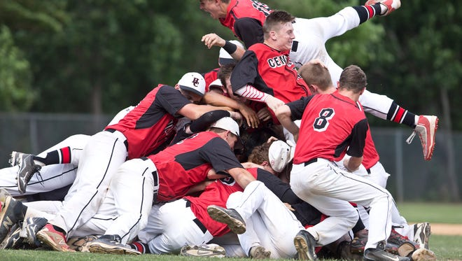 Hunterdon Central celebrates victory as the game ends. Hunterdon Central defeats Morristown in the NJSIAA Group IV baseball final.