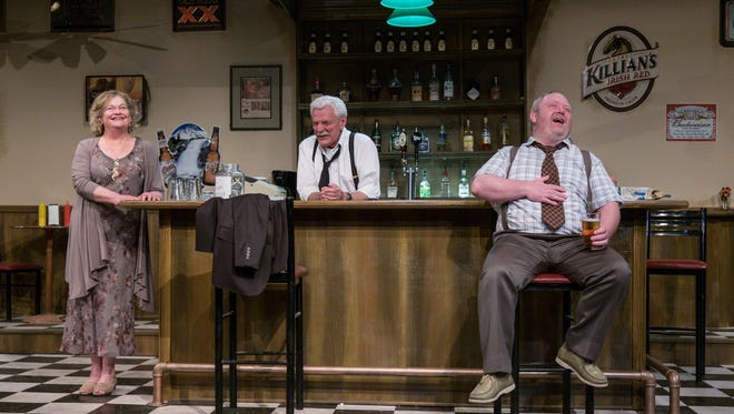"""Nancy-Elizabeth Kammer as Stella, Will Young as Lou and Ryan Carlson as Donnie in Tipping Point Theatre's production of """"Stella & Lou."""""""