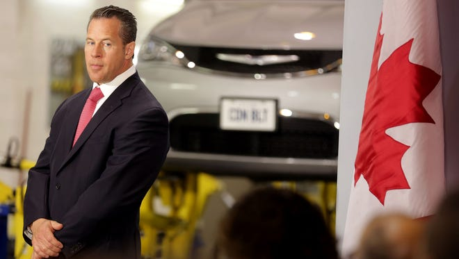 Reid Bigland participates in an event Windsor Ontario where the automaker received grants from Ontario to support investments. Bigland also is the global head of Alfa Romeo and Maserati for FCA. Wednesday, June 15, 2016.