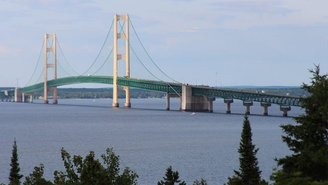 A view of the Straits of Mackinac, which connects Lake Michigan and Lake Huron. Governors of Great Lakes sates will meet next week to decide if a Wisconsin city should be allowed to divert water from the lakes for drinking water.