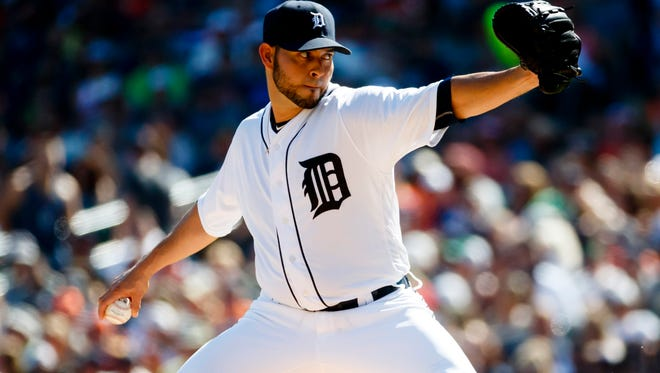 Tigers pitcher Anibal Sanchez throws in the third inning of the Tigers' 6-0 loss to the Indians Saturday at Comerica Park.