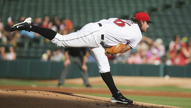 Gerrit Cole pitches the first inning for the Indianapolis Indians during the game against the Louisville Bats at Victory Field on July 5, 2016. Cole temporarily joins the Tribe after being placed on the 15-day disabled list with a right triceps strain.
