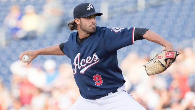 Reno Aces pitcher Matt Buschmann delivers a pitch in a game earlier this season.