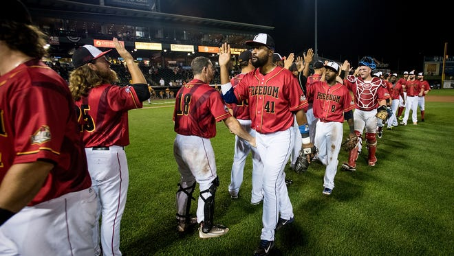 Joel Guzman (41) of the York Revolution celebrates with Freedom Division teammates after their 3-1 win against the Liberty Division in the Atlantic League All-Star Game at Clipper Magazine Stadium in Lancaster on Wednesday, July 13, 2016.