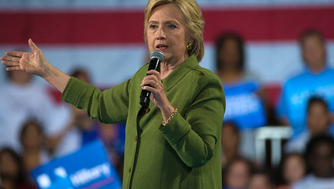 Secretary of State Hillary Clinton speaks at a campaign rally at the Florida State Fairgrounds in Tampa on Friday, July, 22, 2016.