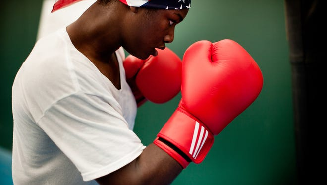 """Claressa """"T-Rex"""" Shields at the SCORE training facility in London one week before her first fight in the 2012 Olympic Games."""