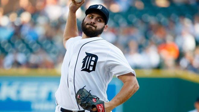 Tigers pitcher Michael Fulmer (32) pitches in the first inning Wednesday at Comerica Park.