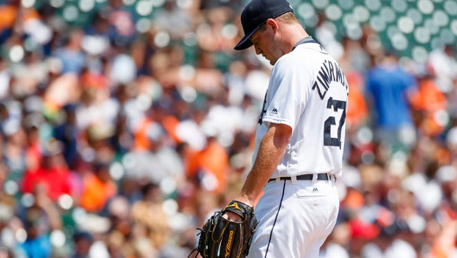 Aug 4, 2016; Detroit, MI, USA; Detroit Tigers starting pitcher Jordan Zimmermann (27) walks off the field after being relieved in the second inning against the Chicago White Sox at Comerica Park. Mandatory Credit: Rick Osentoski-USA TODAY Sports