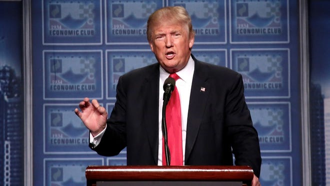 Republican nominee Donald Trump speaks to the Detroit Economic Club at Cobo Center in downtown Detroit on Monday August 8, 2016.