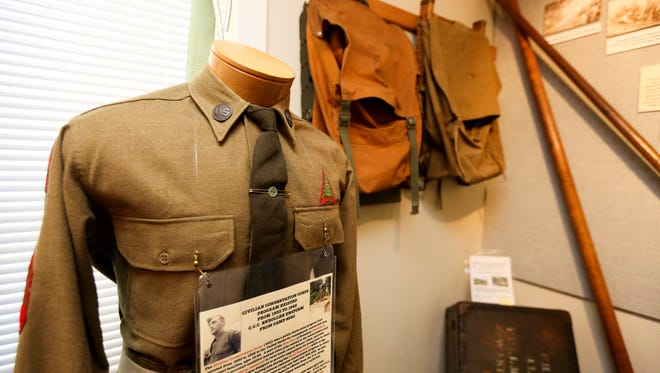 A Civilian Conservation Corps enrollee uniform from the 1930s is on display at the Forest History Center on Wednesday, July 20, 2016.