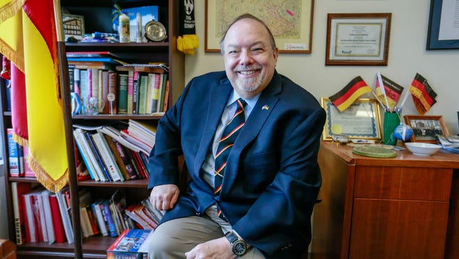 Fred W. Hoffman, the honorary consul of the Federal Republic of Germany in Detroit, in his office in downtown Detroit on Tuesday, Aug. 16, 2016, will receive a Shining Light award for the Eleanor Josaitis Unsung Hero Award.
