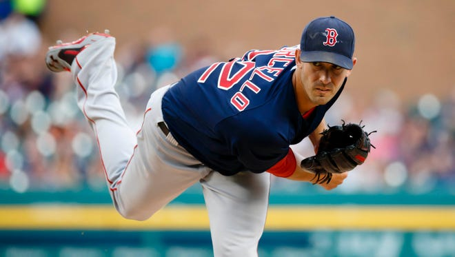 Red Sox pitcher Rick Porcello (22) pitches in the first inning Friday at Comerica Park.