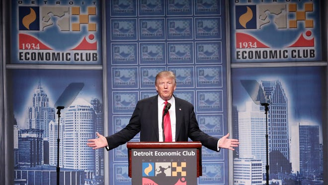 Republican presidential nominee Donald Trump speaks to the Detroit Economic Club at Cobo Center in downtown Detroit on Monday August 8..