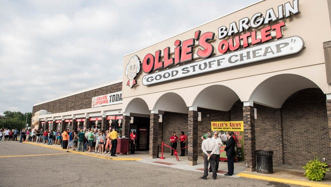 More than 100 people were in line Wednesday morning for the grand opening of Ollie's Bargain Outlet in Battle Creek.