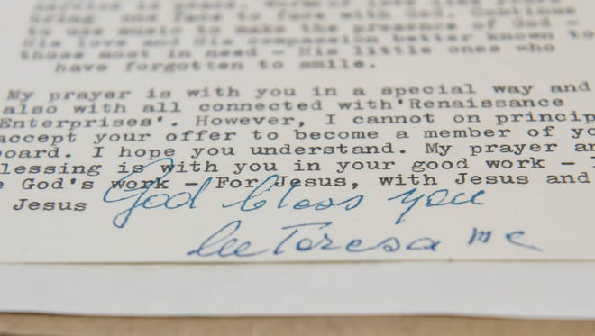 Some of Bob Rowe's correspondence and memorabilia from Mother Teresa.