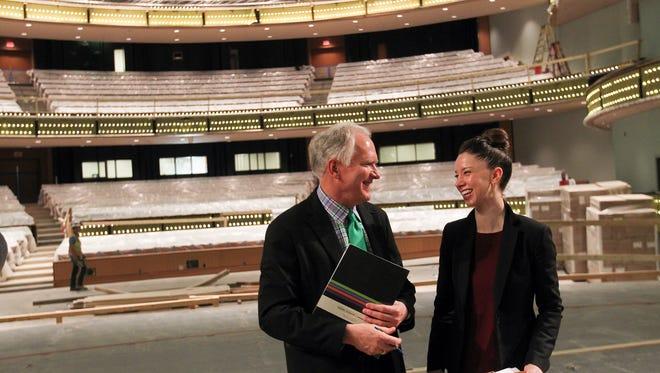 Hancher Auditorium executive director Chuck Swanson, left, chats with Joffrey Ballet lead artist April Daly on April 12.