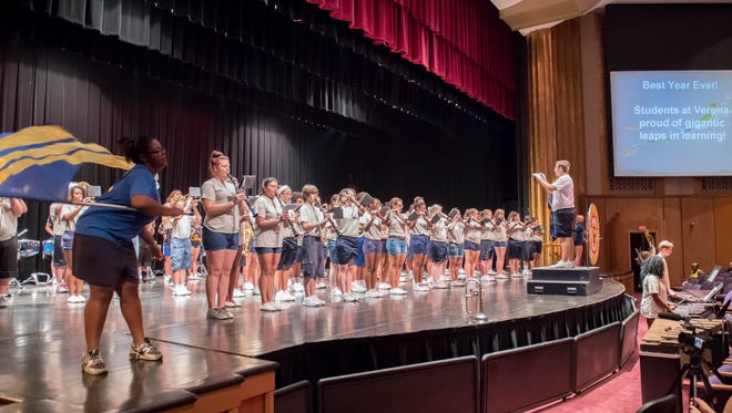 The Battle Creek Central High School marching band performs for teachers and staff for their annual start of school year meeting at W.K.Kellogg Auditorium on Monday.